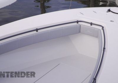 Recessed-handrail in bow with forward storage or fishbox