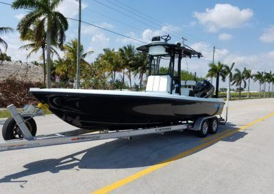 Black and Ice blue second station 25 Bay Boat Yamaha F300